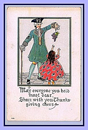 Unusual Colonial Thanksgiving Cheer Card