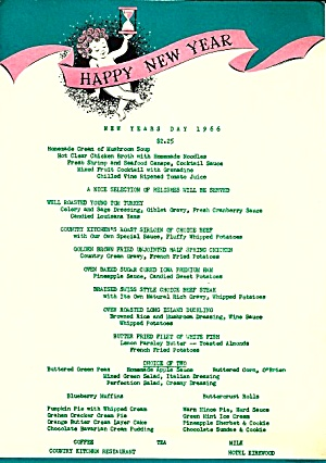 1966 Happy New Year Menu: Hotel Kirkwood Country Kitchen, Des Moines, Iowa