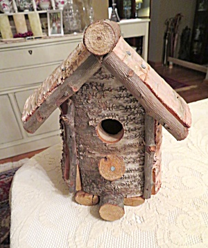 Birch Bark Log Birdhouse