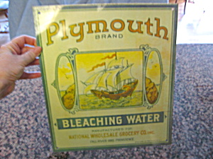 Plymouth Brand Bleaching Water Sign