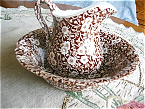 Staffordshire Calico Pitcher And Bowl