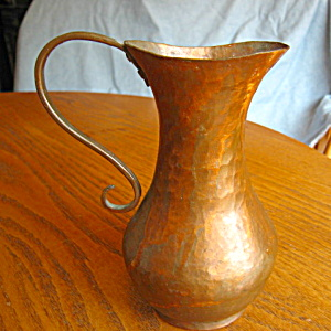 Vintage Hammered Copper Ewer