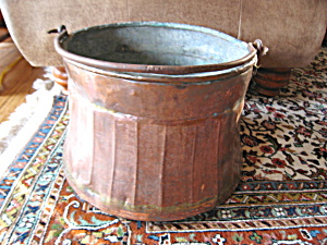 Antique Ribbed Copper Bucket