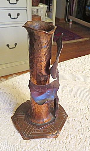Arts And Crafts Copper Bud Vase