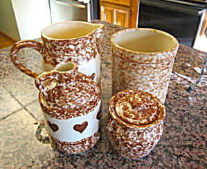 Friendship Pottery Spongeware Brown