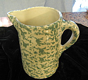 Green Spongeware Pitcher