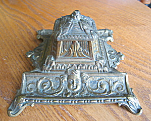 Vintage Brass Art Nouveau Inkwell