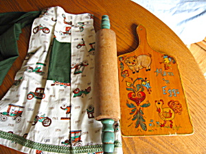 Vintage Rolling Pin, Apron, Cutting Board
