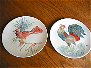 Two Edwin Knowles Hand Painted China Plates