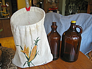 Vintage Bleach Bottles And Clothespin Bag