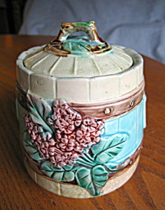 Majolica Vintage Flower And Picket Fence Jar