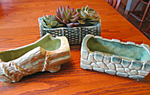 Vintage Mccoy Pottery Green Planters