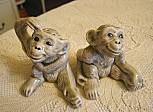 Vintage Monkey Pottery Shakers