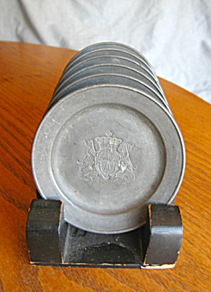 Antique Pewter Coaster Plates