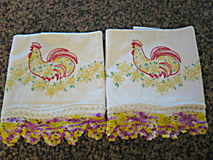 Embroidered Vintage Rooster Pillow Cases