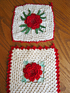 Vintage Crocheted Red Rose Potholders