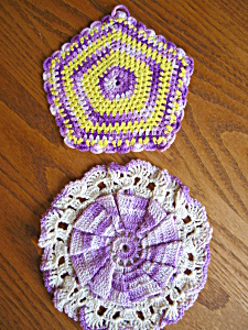 Vintage Crocheted Purple Potholders