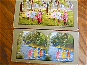 Two Vintage Stereo Viewer Cards