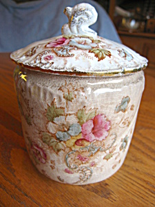 Antique English Earthenware Sugar Jar