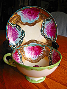 Vintage Enameled Hand Painted Teacup