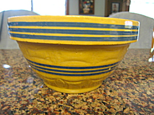 Antique Yellow Ware Blue Banded Bowl