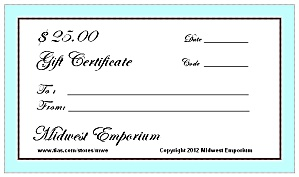$25.00 Gift Certificate From The Midwest Emporium