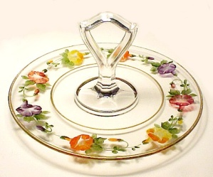 Clear Glass Reverse Painted Center Handled Serving Plate Dessert