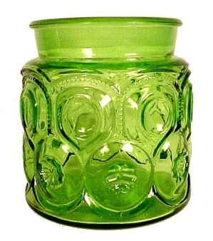 Le L E Smith Green Moon & Stars Coffee Canister Jar