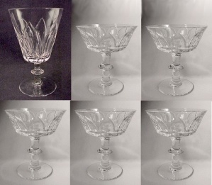 6 Lead Crystal Cut Glass Lotus Sherbet Water Goblet Lot