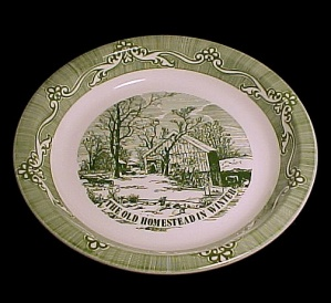 Old Homestead In Winter Deep Dish 10 In Pie Plate Currier & Ives Royal