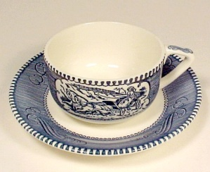 Currier & Ives Cup And Saucer Scroll Handle Royal China