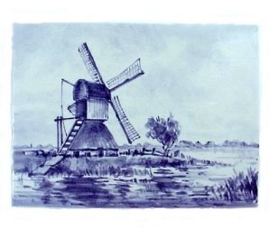 Delft Blue Dutch Windmill Art Pottery Tile Bosch Honig