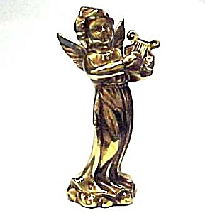 Golden 5 Inch Angel With Harp - Made In Japan Figurine