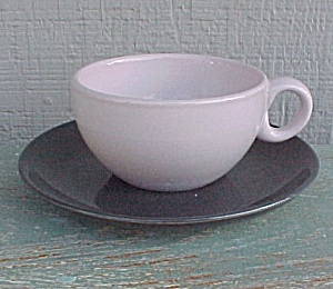 Russel Wright Iriquois Casual Pink Cup Charcoal Saucer