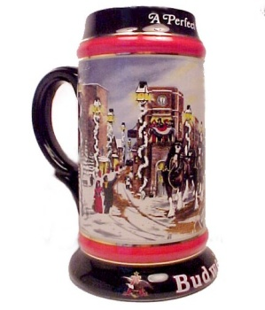Budweiser Beer Perfect Christmas Stein 1992 Susan Sampson Mug