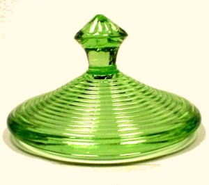 Green Depression Glass Sugar Lid Homespun Akro Agate