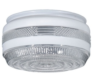 "Glass Ceiling Light Shade 5 3/4"" Drum Disk White Clear Porch Utility F"