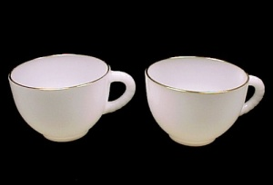 Vintage Federal Glass Dura-white Punch Snack Set Cup With Gold Trim