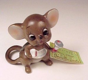 Josef Originals Teacher Mouse Village W/ Tag Bell Book