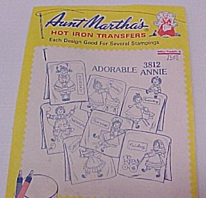 3 Aunt Martha's Hot Iron Embroidery Transfers Vintage