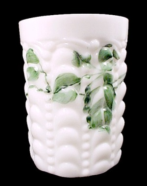 Consolidated Glass Gluttate Tumbler Hand Painted Ivy