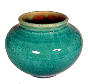 Pisgah Forest Pottery 1938 Turquoise Pink Pot Vase Bowl