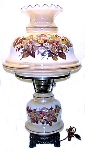 Electric Student Lamp Table Desk Autumn Floral Gold Iridescent Glass