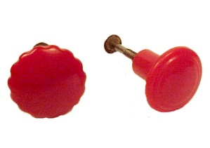 Vintage Red Bakelite Drawer Cabinet Cupboard Knob Pulls