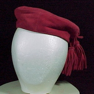 Red Leather Tam Hat With Tassels Suede Western Wear Vintage Retro