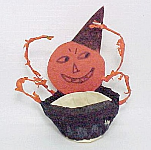 1930s Hand Made Halloween Nut Cup Jack-o-lantern Vintage