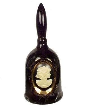 Cameo Pottery Bell Marbled Black Cameo Silhouette Gold Filigree