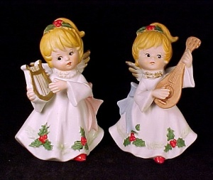 Lot Of 2 Homco Christmas Holly Angel Figurine Vintage