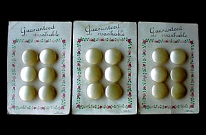 Lot Of 3 Carded Buttons Pearlized Shank Czechoslovakia 18 Pcs Vintage