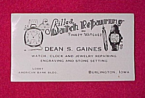 Burlington Iowa Advertising Ink Blotter Dean S. Gaines